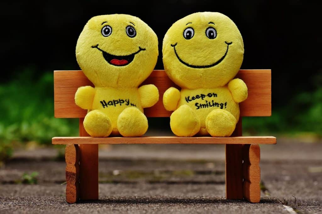 Two yellow plush toys on the bench smiling