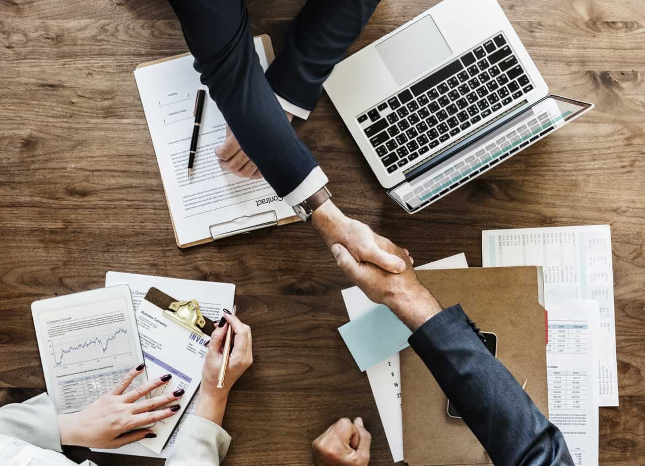Handshake between two business clients
