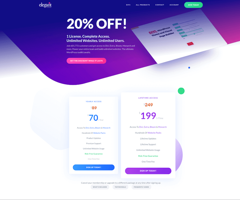 discount on Divi Theme
