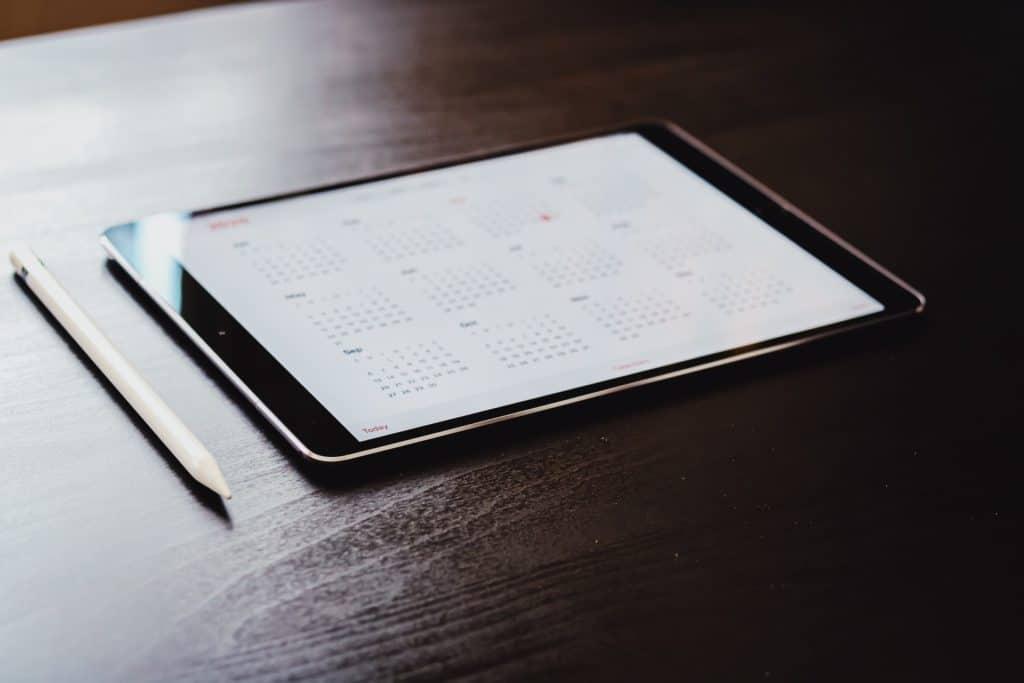 calendar on tablet screen