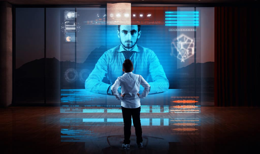 Business man having a video call with his partner on a hologram in living room.