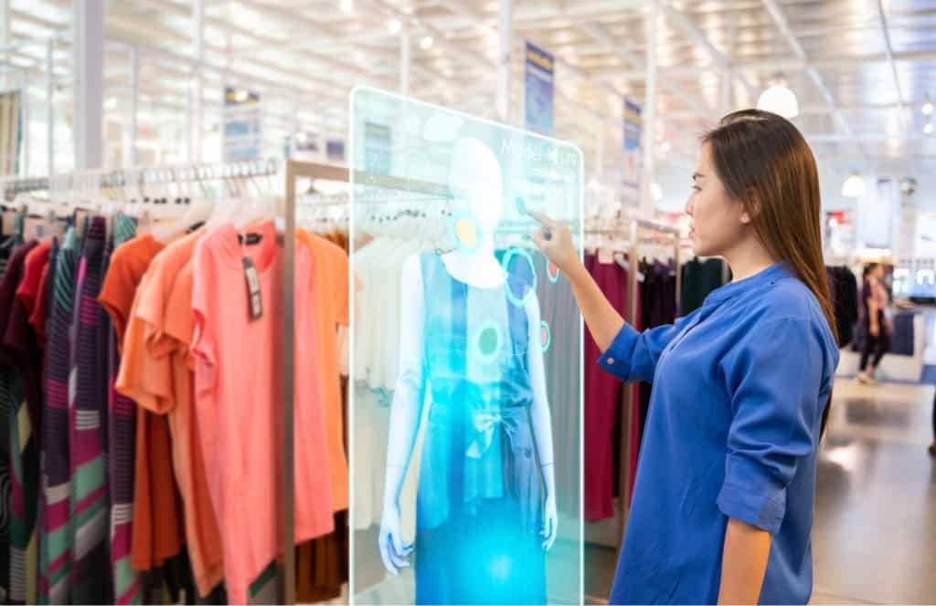 girl using  hologram display with virtual augmented reality